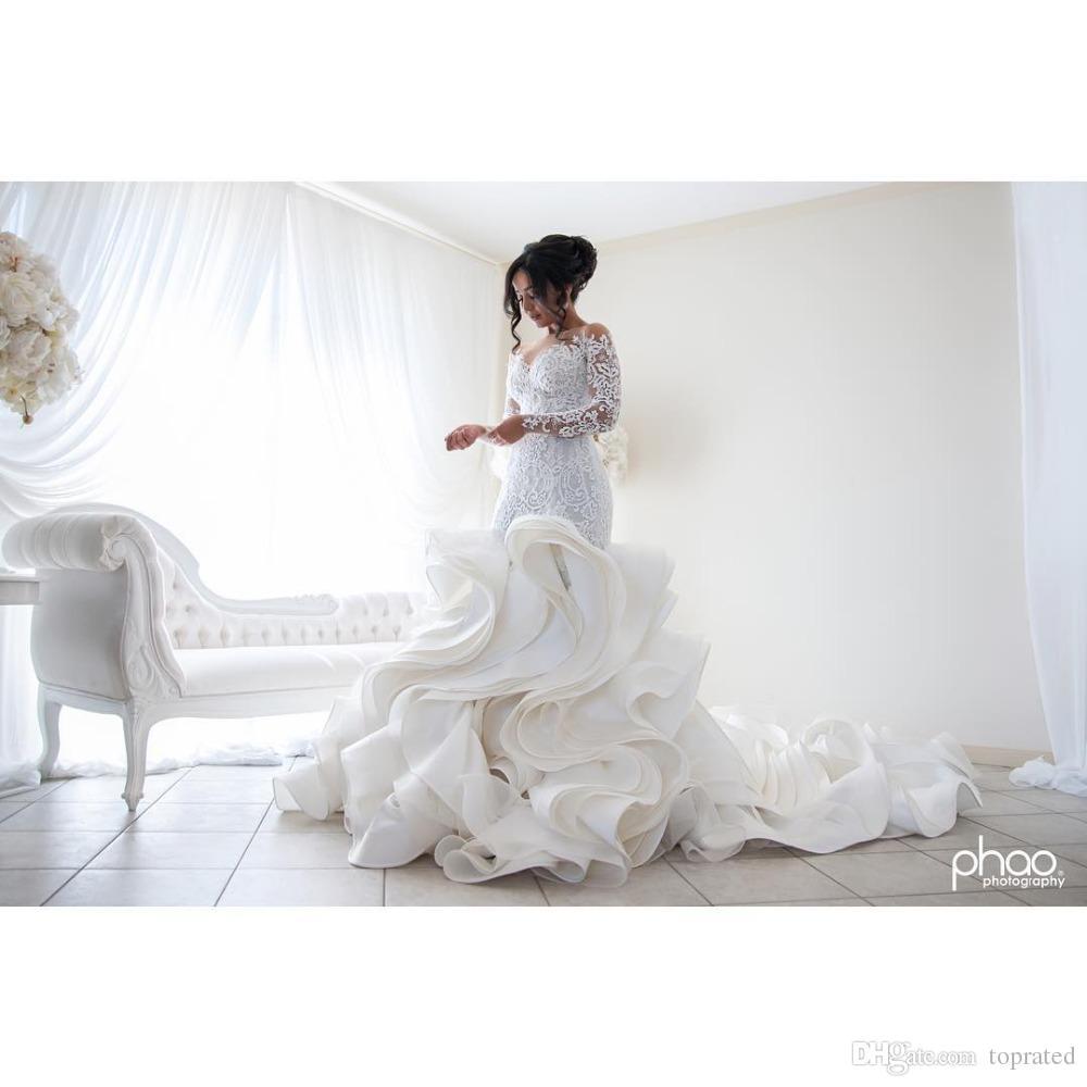 플러스 크기 패션 인어 웨딩 드레스 도착 레이스 긴 소매 무슬림 Vestido de Noiva 낭만적 인 아플리케 프릴 가운