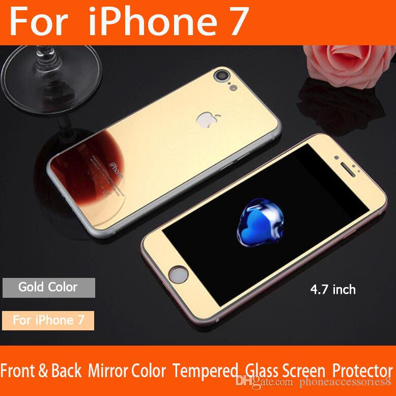 iphone 7 gold front. best iphone ful mirror tempered glass screen protecotor gold/ rose black / silver/ purple/blue color phone protectors premium 7 gold front