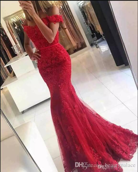 2017 New Red Lace Mermaid Prom Dresses veatidos off Shoulder Beaded Appliques Tulle Floor Length Long Evening Gowns