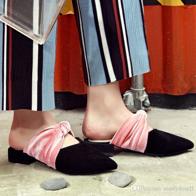 Vera pelle rosa diapositive 2017 più nuovi muli di colore misto scarpe Lady Pink Knot Knot Lovely Slipper Low Heels Slippers Woman