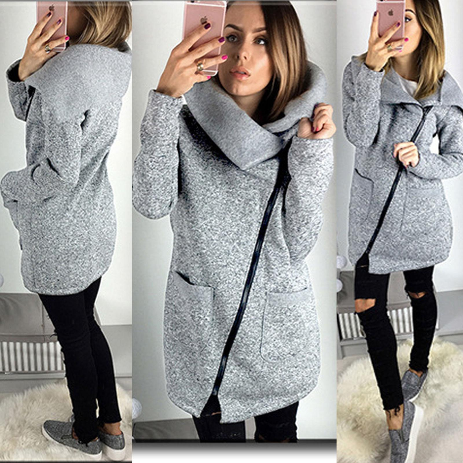 Womens Warm Casual Hoodie Jacket Coat Long Zip Up Sweatshirt Ladies Slim  Thin Autumn Oblique Zipper Outwear Tracksuit Tops Brown Leather Jackets  Suede ... dc42db8b4e