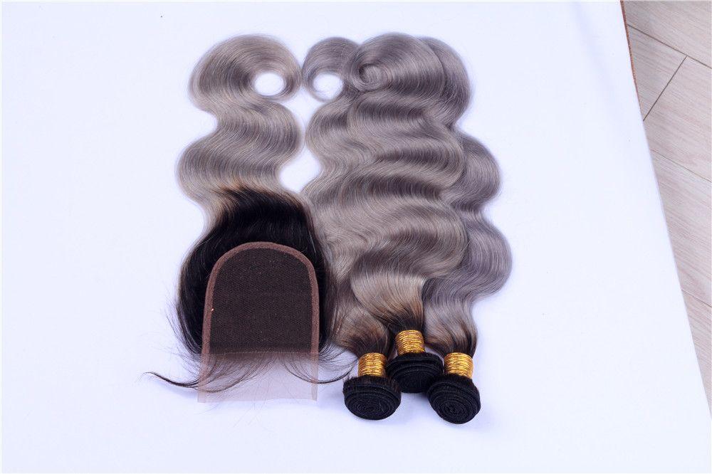 8A Peruaner Sliver Graues Haar Weave 3 Bundles mit Spitze Schließung 1B Grau Körper-Wellen-Dunkel Wurzel Ombre Hair Extension Mit Closure