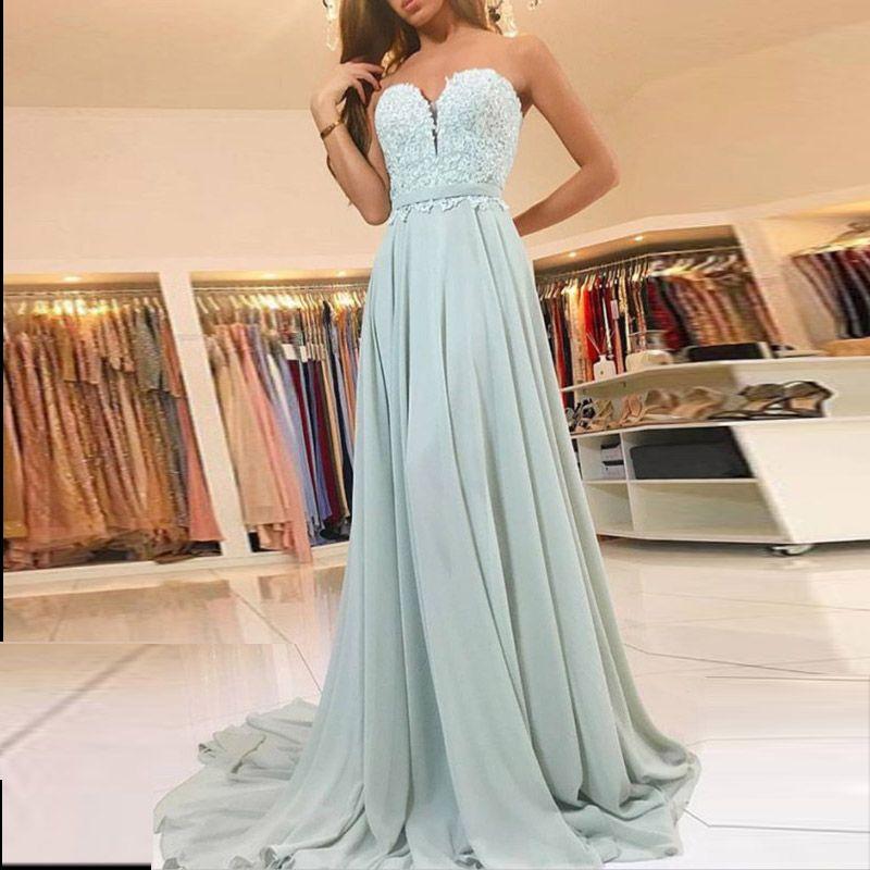 Neue billige lange Abendkleider trägerlosen Spitzen Schärpe Salbei Chiffon Mermaid formale Abendkleider nach Maß Reißverschluss zurück Sweep Zug prom