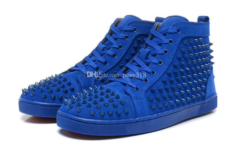 Cheap Red Bottom Shoes For Men Luxury Blue Suede with Spikes Fashion Casual Mens Womens Sneakers 2018 Designer Leisure Trainers Footwear