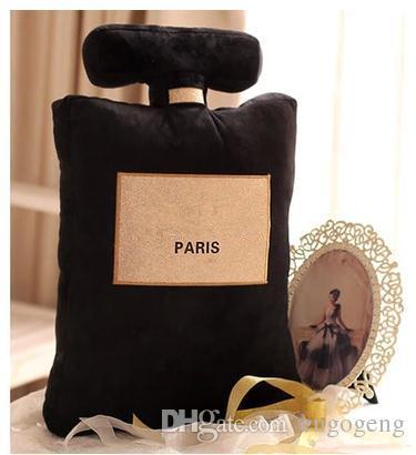 Novo! Padrão clássico marca almofada 50x30 cm forma de garrafa de perfume almofada travesseiro branco preto design de moda de luxo logotipo travesseiro