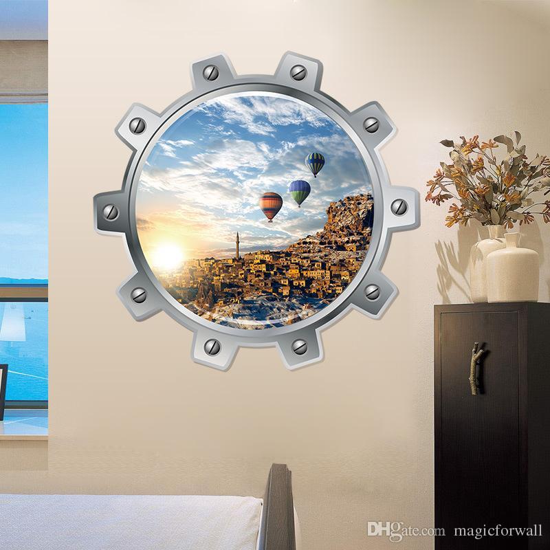 潜水艦舷窓ビュー3Dウォールステッカー水中海の動物壁紙ポスターサメゼリーフィッシュオーシャス風景壁グラフィックアートウォールデカール