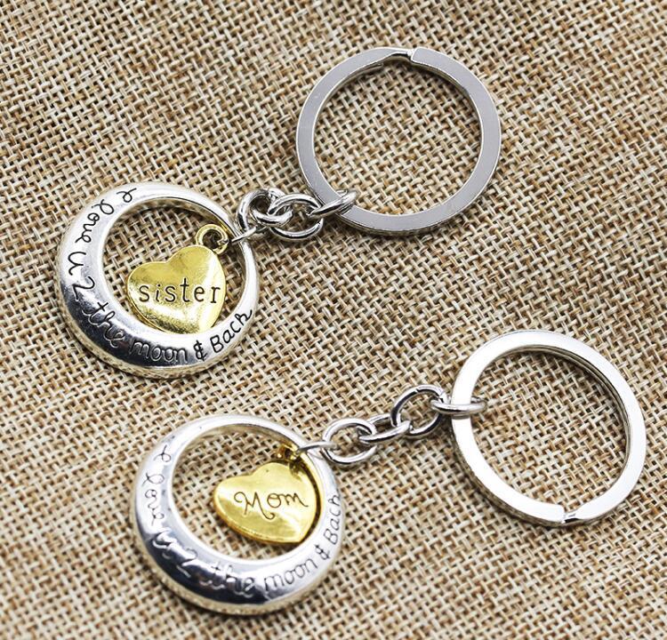 나는 골드 가족 menber 엄마 딸 할아버지 심장 사랑 펜던트 열쇠 고리 웨딩 선물 열쇠 고리 키 체인 다시 달에 당신을 사랑하고