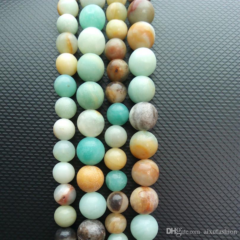 Granos sueltos de piedra Redondo Frost Multicolor Amazonita Granos de piedra natural 15