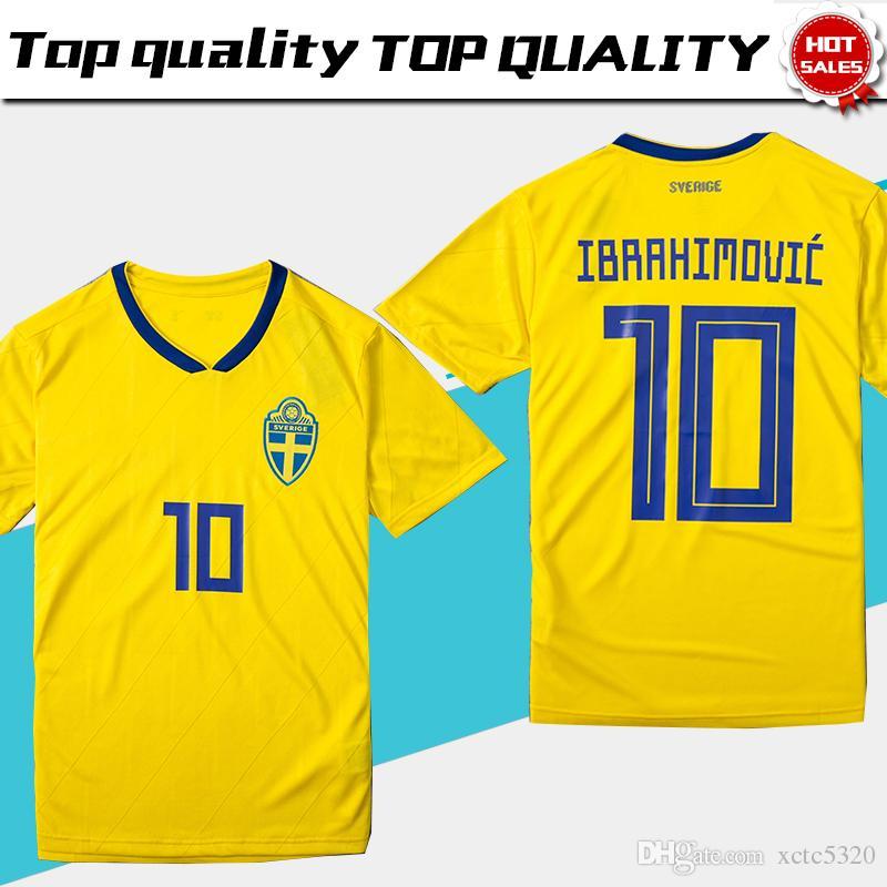 Compre 2018 Copa Do Mundo Suécia Selecção Nacional De Futebol Camisola  Suécia Casa Amarelo Camisa De Futebol 2018 Copa Do Mundo   10 IBRAHIMOVIC  Sverige ... 3dceaecf5efff