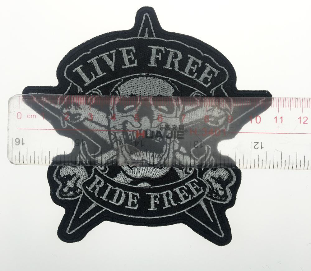 2017 Originale Cranio IN DIRETTA GRATIS RIDE FREE Star Motociclista Gilet Torna Ricamato Patch Rider Punk Distintivo G0378 Spedizione Gratuita