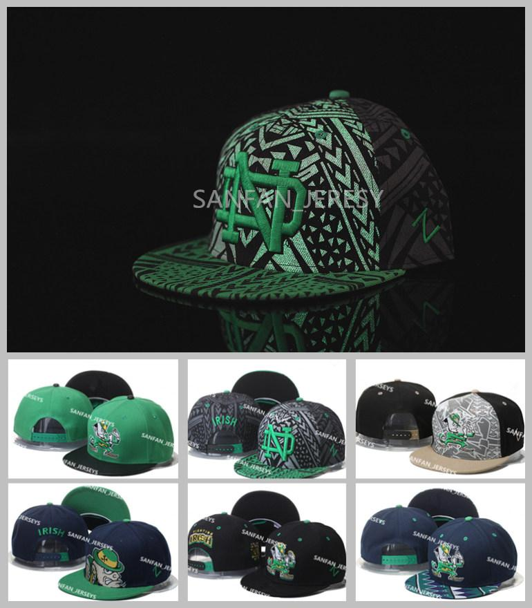 Wholesale All Teams NCAA Notre Dame Snapbacks Hats Black Green Fighting  Irish Cap American College Mens ND Adjustable Hats Embroidered Logos Flat  Brim Hats ... 047a0dfe0a0