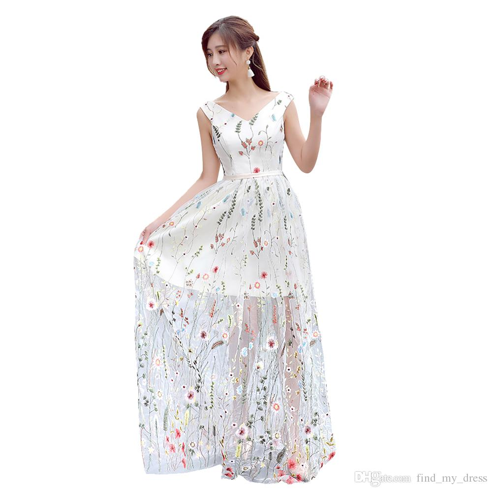 New Design Custom Made V Neck Sash Floral Embroidered A Line Evening Dresses Floral Printed Pageant Gowns Transparent Robe de Soiree