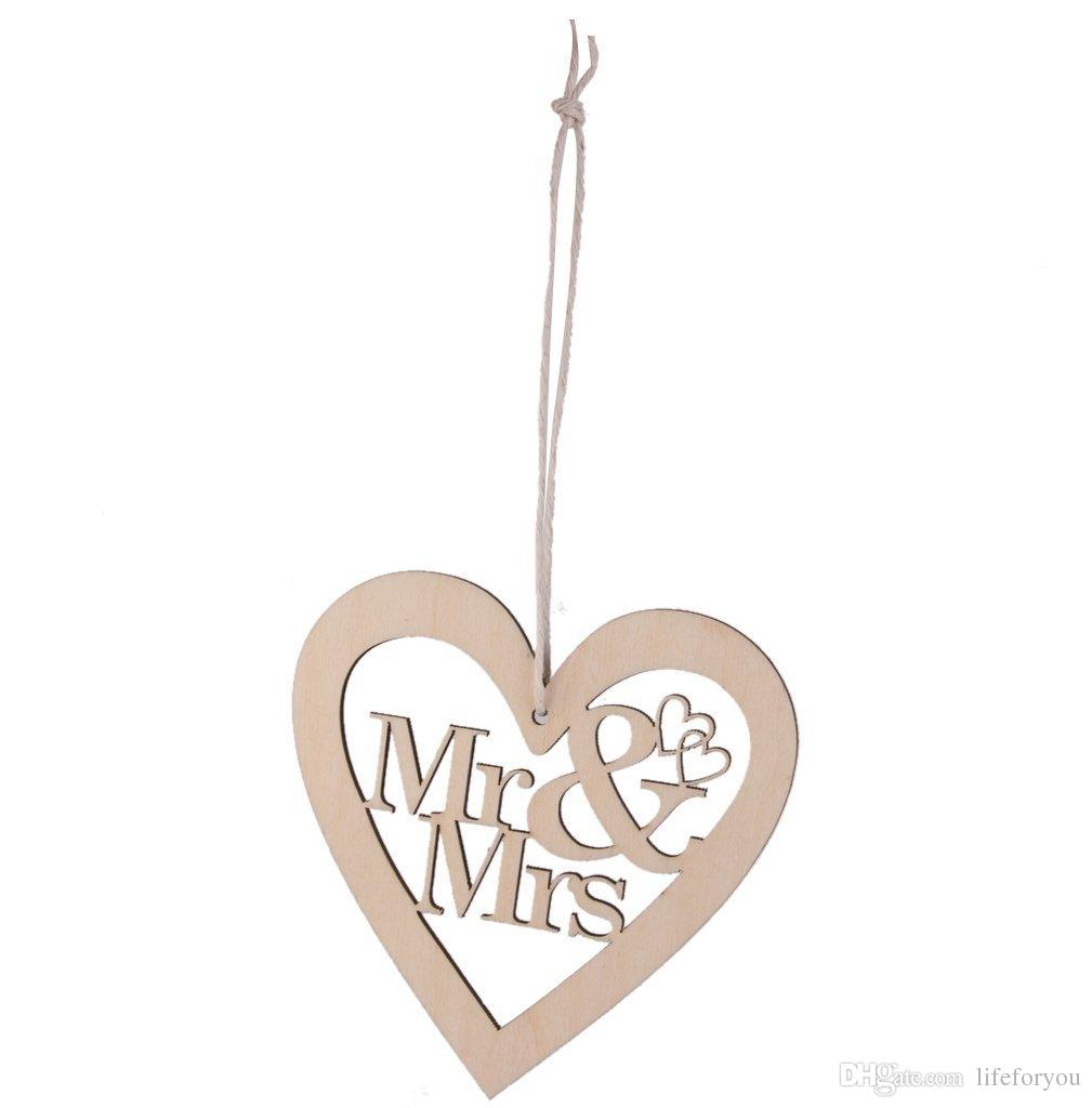 Вуд г-н миссис дизайн сердца свадебные украшения свадьбы пользу вечеринки украшения свадьбы украшения партии 10 шт. За лот