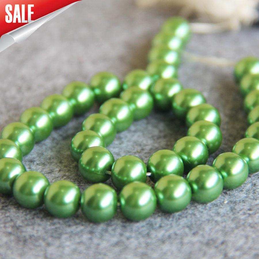 889ebd8317e8 Nuevo Para Collar Pulsera Accesorios 10mm Verde Concha perlas de Concha de  BRICOLAJE regalo de BRICOLAJE para las mujeres niña loose beads15 inch Al  ...
