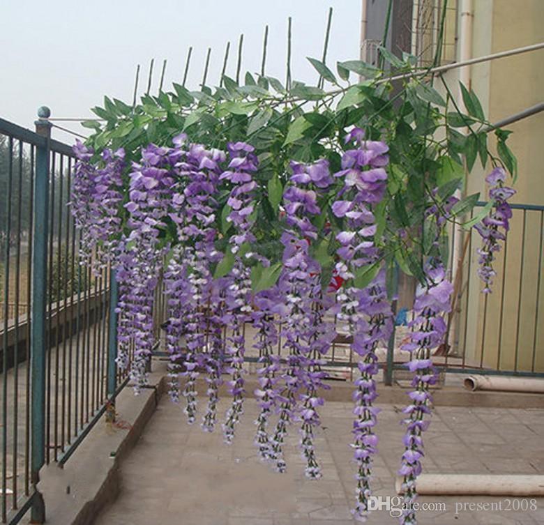 Lüks Yapay Ipek Çiçek Vine Ev Dekor Simülasyon Wisteria Garland Zanaat Süs Düğün Parti Süslemeleri Ücretsiz Nakliye Için
