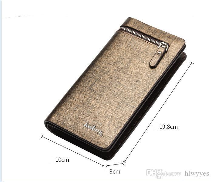 Qualität Business Männer Brieftaschen Große Kapazität Handschlaufe Reißverschluss Druckknopf Gold Silber ID Kreditkarteninhaber Handgelenk Kupplung Brieftasche