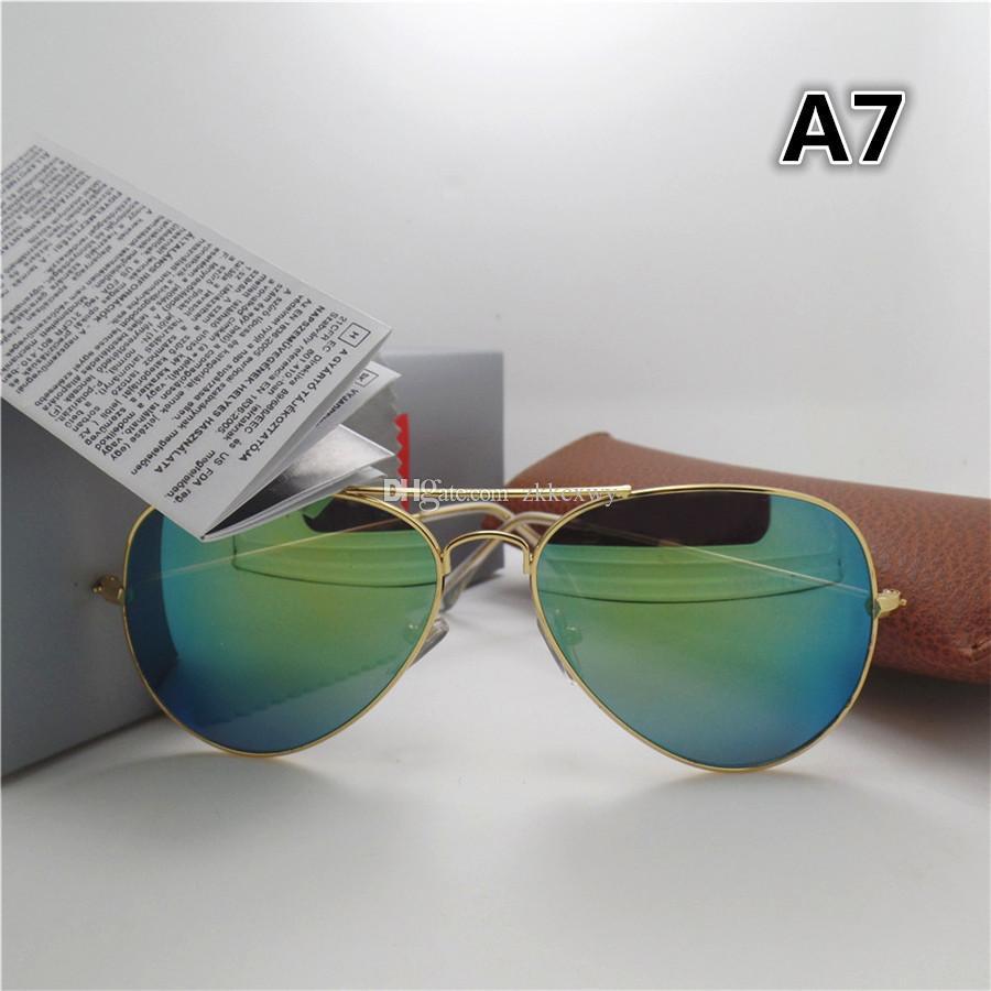 Moda Ayna Erkekler ve Kadınlar için Güneş Gözlüğü UV400 Vintage Spor Kaplama Güneş Gözlükleri Kahverengi Kutusu