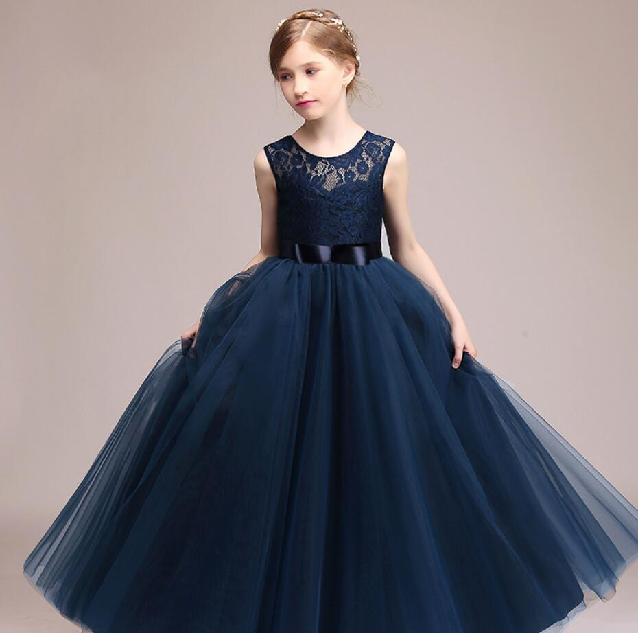 ad6678d2a9ef5 Kids Girls Wedding Flower Girl Dress Princess Party Pageant Formal Dress  Sleeveless Long Dress for Teenager Girl 5-14 Years Wear