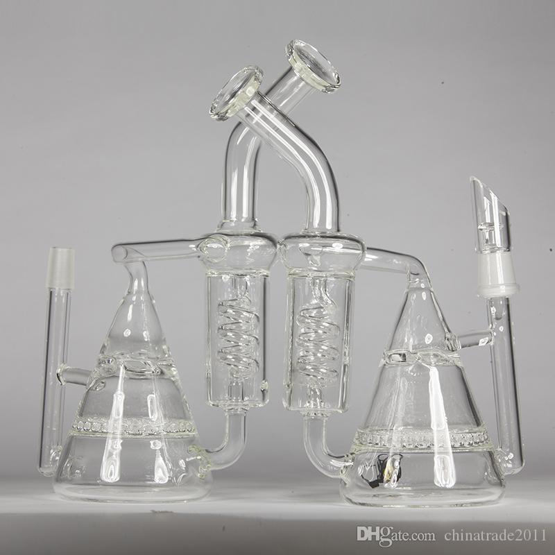 """Double Recycler Bong Water Pipes Honeycomey to Turbine Prec Bubbler Coil Diffuse Oil Rigs 8"""" inch Tall Hookahs Thick Dab Beaker Bongs"""