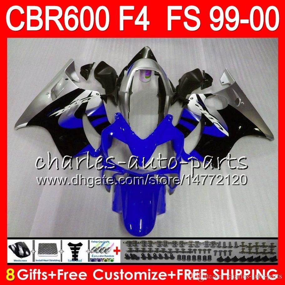 8Gifts Carrosserie Pour HONDA CBR600 F4 1999 2000 CBR 600F4 TOP rouge bleu 30NO57 CBR600F4 99 00 CBR 600 F4 99-00 CBR600FS FS Carénage