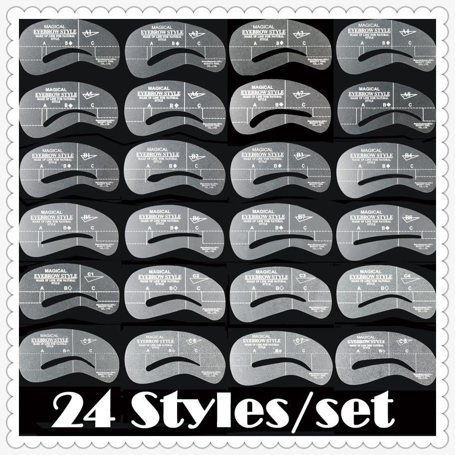 Wholesale - Wholesale-LANBENA Women&039;s Fashion Eyebrow Template Eye Brow Card Grooming Stencil Kit Shaping Shaper Make Up DIY Tools