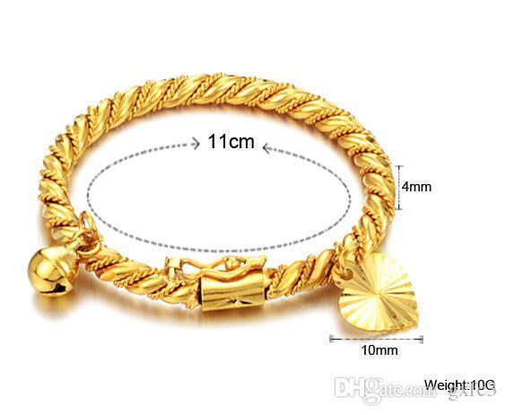 Braccialetto in oro Bracciale rigido bambini Kid Boy Girl Bambino cuore pendente Bell Twist catena polsini Gioielli moda