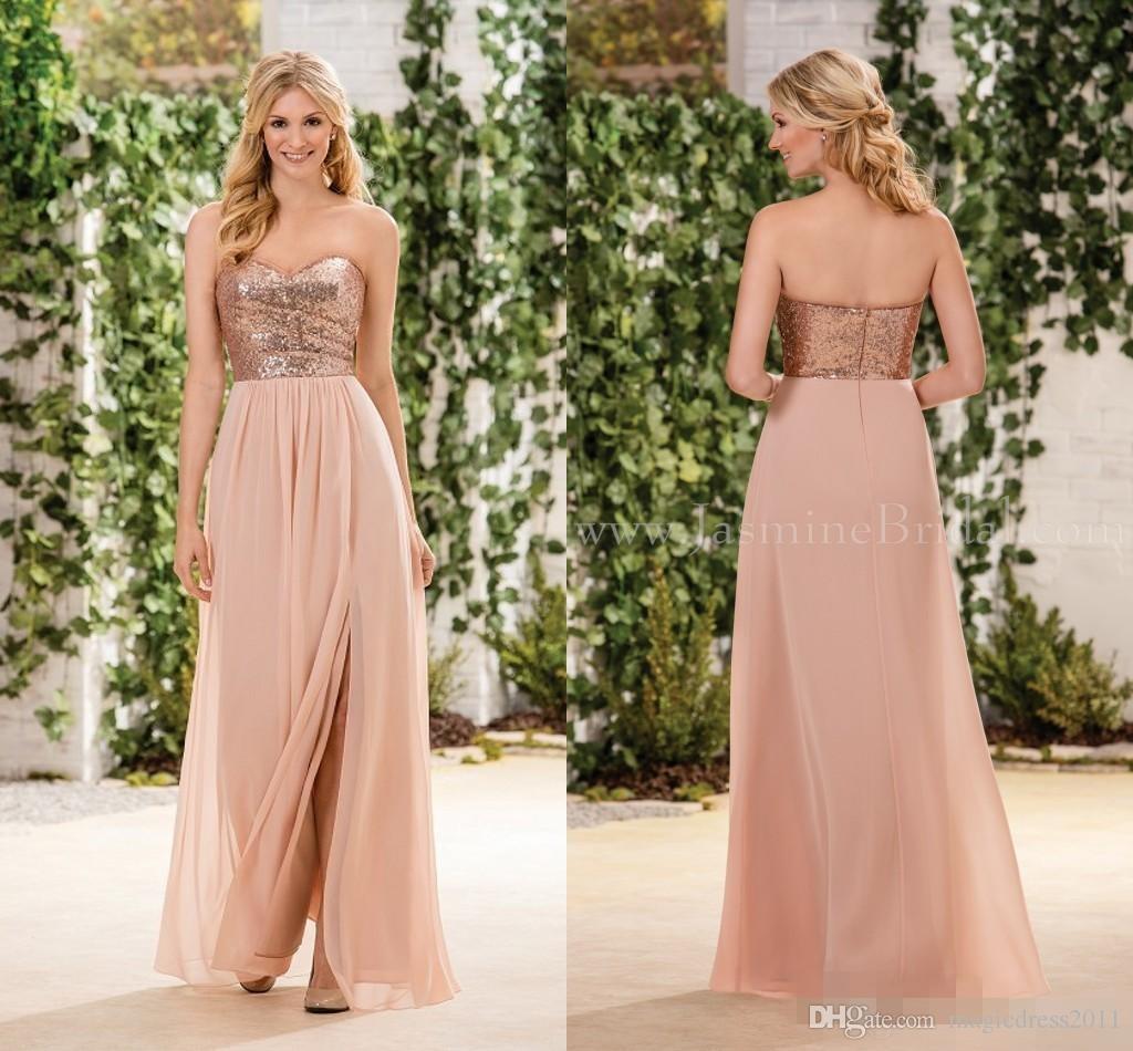 New Cheap Bridesmaid Dresses Rose Gold Sequins On Top Chiffon Skirt Sleeveless A Line Junior Bridesmaid Dresses Cheap for sale
