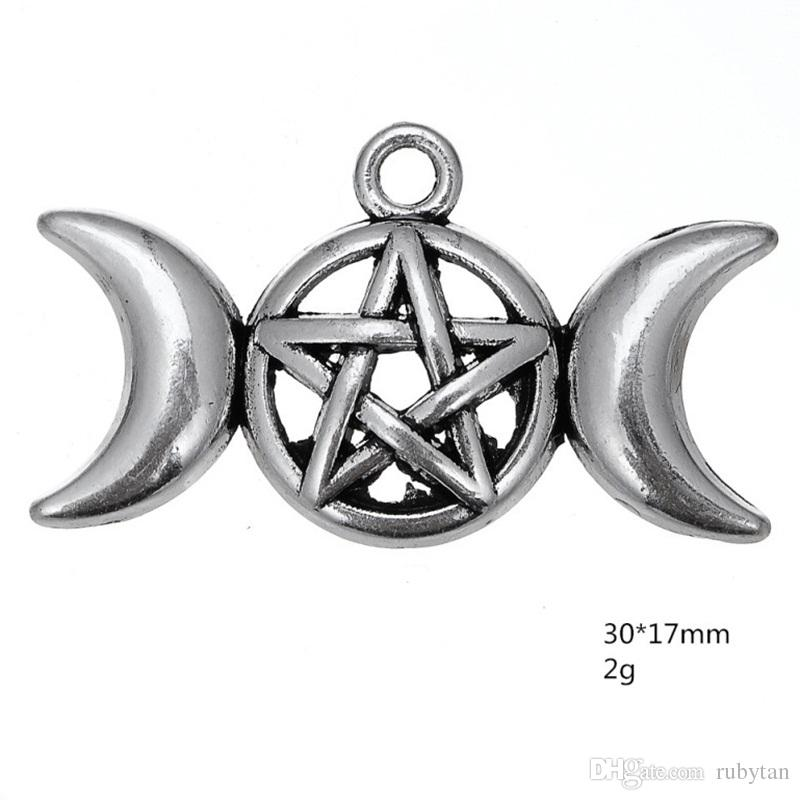 Fashion Ancient Silver Moon Star Pentagram Dangle Charm Viking Style Wicca Charms DIY Accessories Jewelry