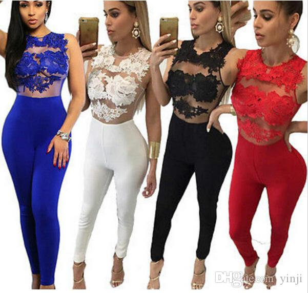 215542185ee1 2019 Sexy Fashion Women Sleeveless Bandage Bodycon Jumpsuit Lace Romper  Trousers Evening Clubwear Red Woman Clothing From Yinji