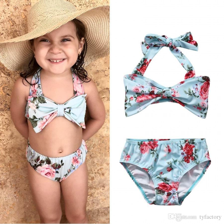 dfadcc4b84 2019 Summer Bikini Swimsuits Baby Girl Bikini Suit Wathet Blue Tops Flower  Bottom Floral Swimsuit Swimwear Bathing Factory Killing Price From  Tyfactory
