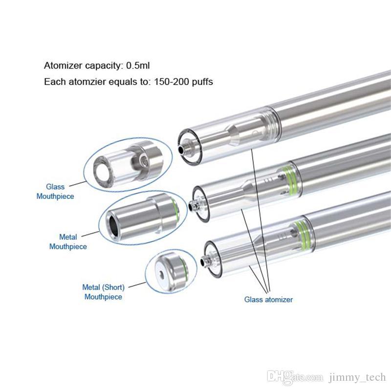 Top quality disposable e cig vape o pen 0.5ml empty cartridge ceramic coil e cigarette glass atomzier wax vaporizer for thick oil