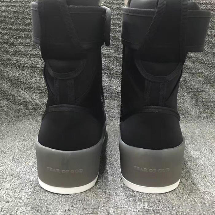 Fear of God Military Sneaker Without Box 2016 Black Gum Numbuck Fog Made In Italy military boots high street boots Winter boots size 39-45