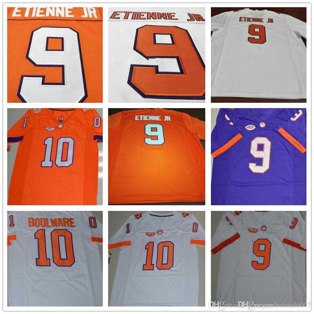 hot sales c9641 96d36 Clemson Tigers College Football Jerseys 9 Travis Etienne Jr 10 Tucker  Israel Baylon Spector Brian Dawkins Shirts Purple White Orange