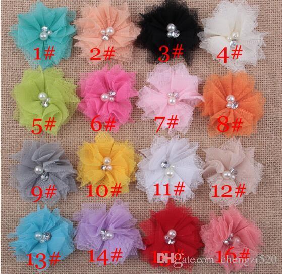 16 cores mini tule malha chiffon flores strass pérola no centro de artesanato diy boutique acessórios para o cabelo yh554