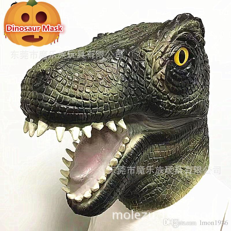 Hot Sale Halloween Party Cosplay Scary Animal Mask Amusement Park Artificial Animatronic Latex Dinosaur Mask Full Head dinosaur mask