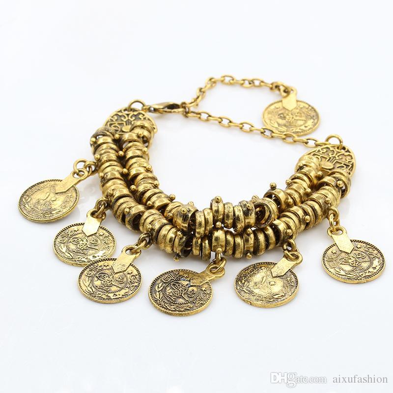 Bohemia Charm Bracelets Retro Carved Coins Joyería de Las Mujeres de Oro Antiguo Pulsera de Plata Pulsera de Aleación de Tobillo 2017 Venta Caliente