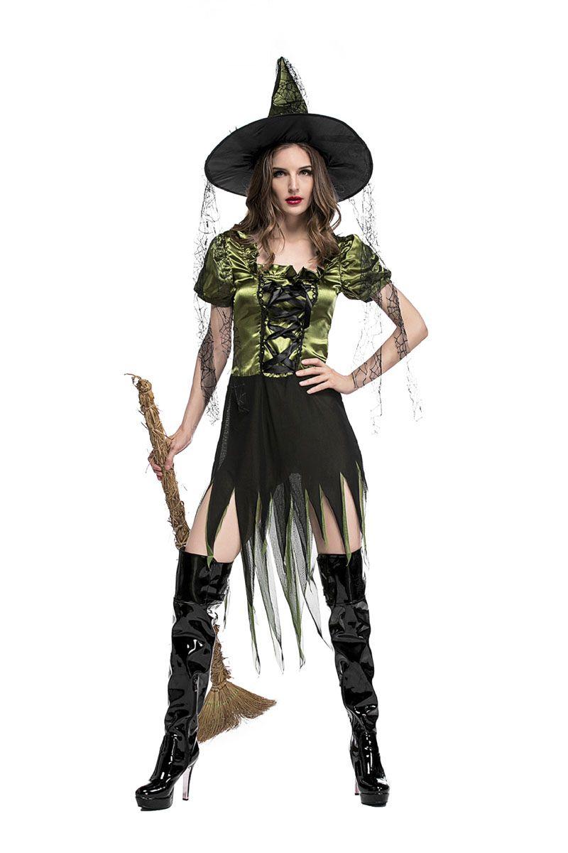 Sexy Green Adulte Sorcière Magicien Cosplay Dress Femmes Fantasy Halloween Costume Irrégulier Gothique Robe Avec Chapeau