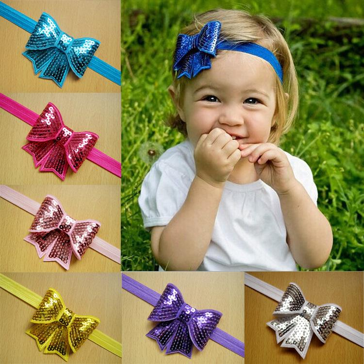 Baby Sequin Bows Headbands Kids Infant Nylon Hairband Sweet Girl Headwear Holiday Gift For Baby Hair Accessories 10 Color 10 pcs