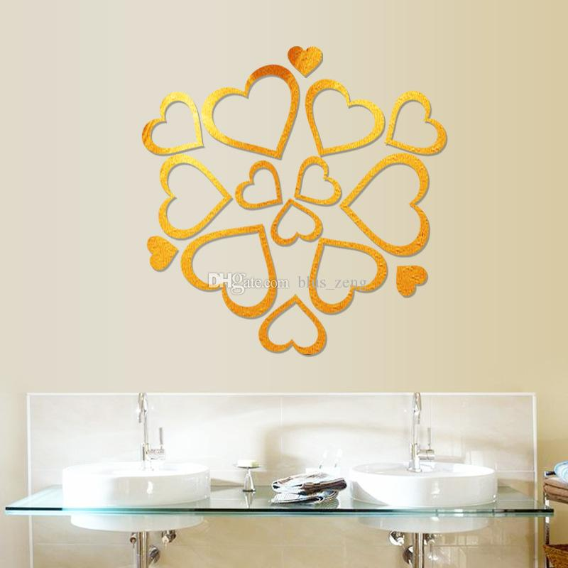 2017 New Loving Heart 3d Mirror Wall Stickers Diy Art Decal ...