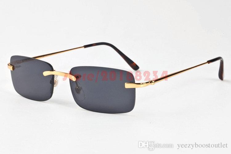 58a75f0992ed Classic Rimless Sunglasses Mens Womens Brand Designer Buffalo Sunglasses  Fashion Gold Glasses Frames Red Black Blue Brown Clear Lens Glasses  Sunglasses ...