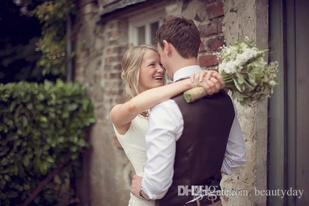 2020 Pays Brown Gilets palefrenier mariage Laine Herringbone Tweed Custom Made Slim Fit Mens Costume veste robe de bal Farm Plus Size Waistcoat