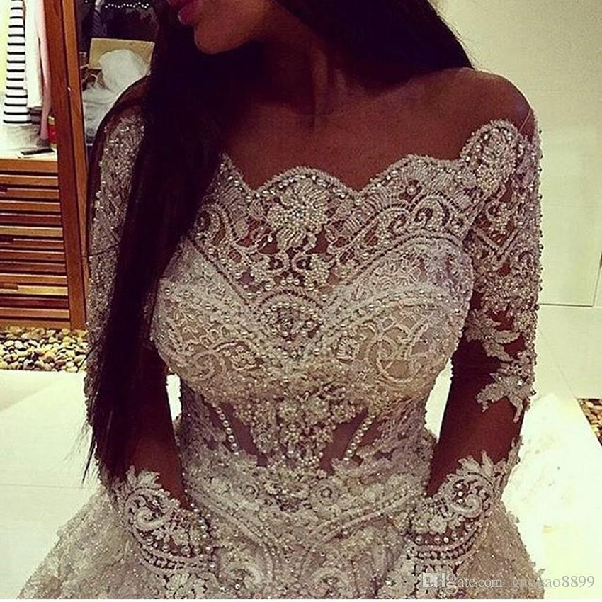 Vestidos De Novia 2019 Long Sleeve Off Shoulder Luxury Lace Wedding Gowns With Appliques Pearls See Through Bodice Dubai Bridal Gowns