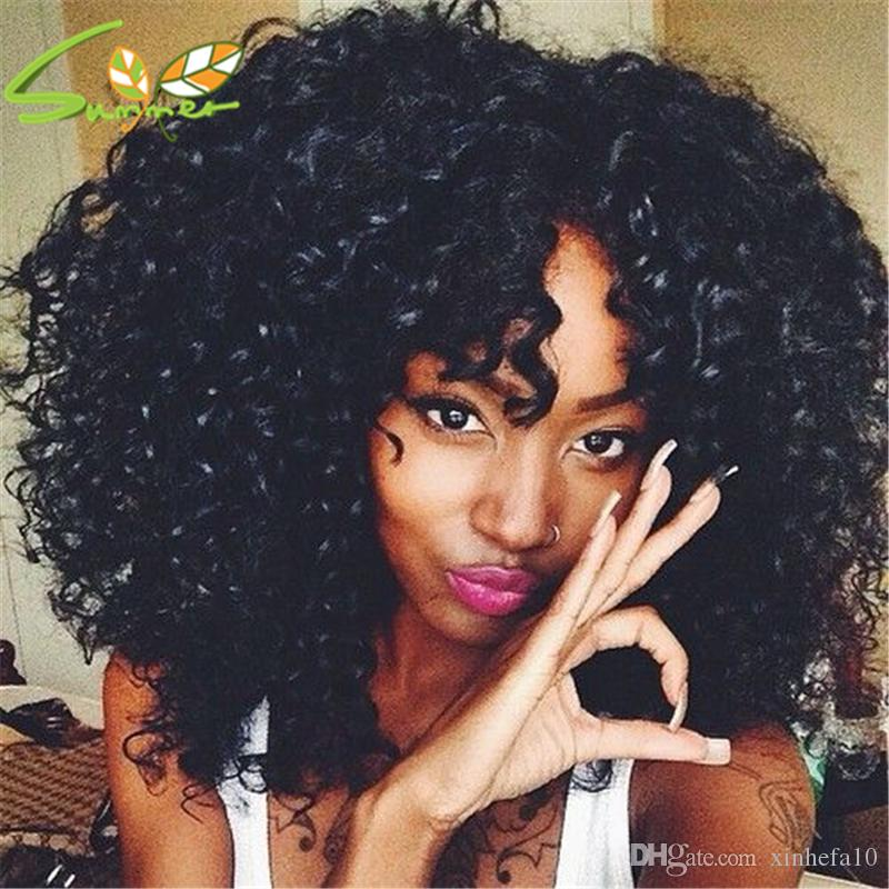 afro Kinky Curly Wig Full Bangs Wig Newest Fashion Indian Hair Medium Long Curly For Black Women Full Lace Wig