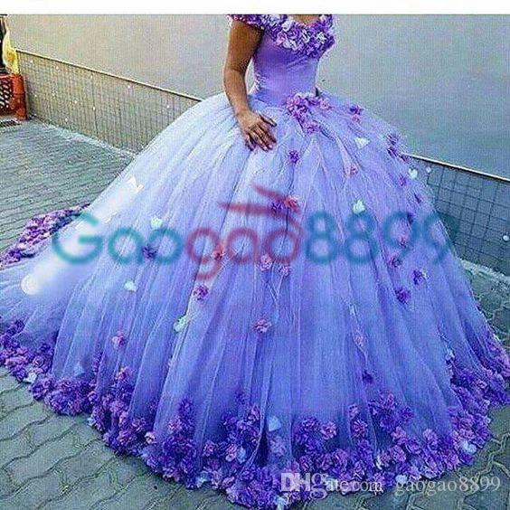 Masquerade Ball Gowns 2017 Modest 3D Floral Off-shoulder Prom Occasion Dresses Dubai Arabic Style Lavender Evening Pageant Dresses
