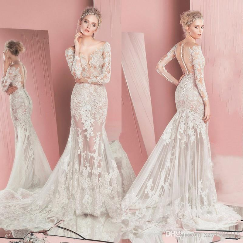 Luxury Zuhair Murad Wedding Dress 2017 Stylish Sexy See Through Mermaid  Bridal Dress Sheer Scoop Lace Applique Long Sleeves Wedding Gowns Wholesale  Wedding ... 02fc1a0305d3