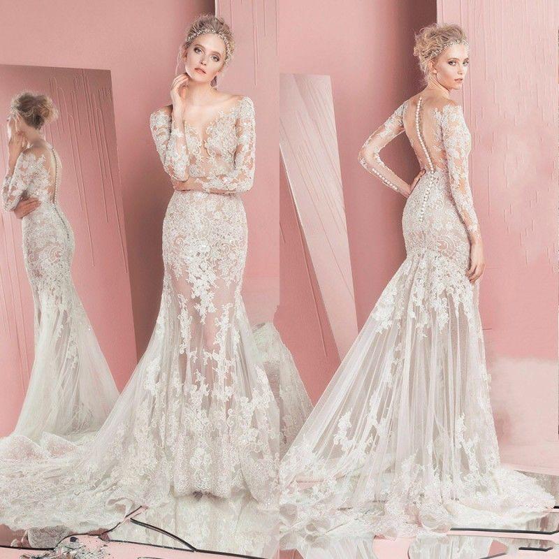 1dc329d453 Compre Vestido De Novia De Lujo Zuhair Murad 2017 Elegante Atractivo Ver A  Través De Sirena Vestido De Novia Sheer Scoop Lace Applique Mangas Largas  ...