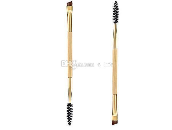 Forma de bambú Brocha Profesional Herramientas del maquillaje de cejas cepillo de cejas + peine compone el cepillo de composición doble Shifter