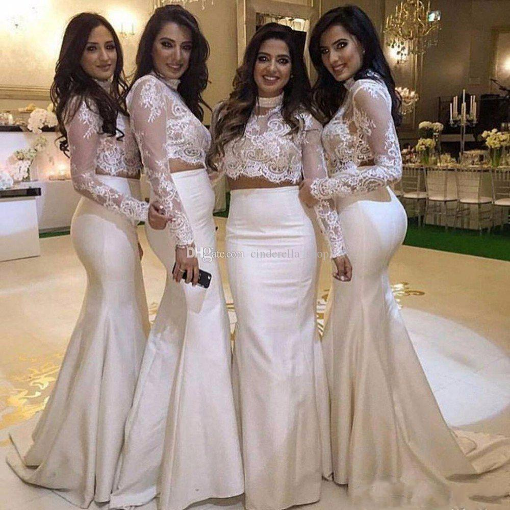 2017 new two pieces bridesmaid dresses long sleeves high neck lace 2017 new two pieces bridesmaid dresses long sleeves high neck lace top mermaid maid of honor long prom party gowns vestidos cheap custom long gown maternity ombrellifo Choice Image
