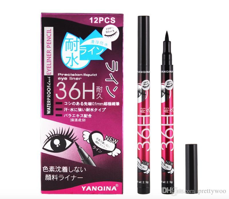 Alta calidad YANQINA 36H lápiz delineador de ojos delineador de ojos a prueba de agua negro delineador de ojos sin flor Precision Liquid Eye liner / set