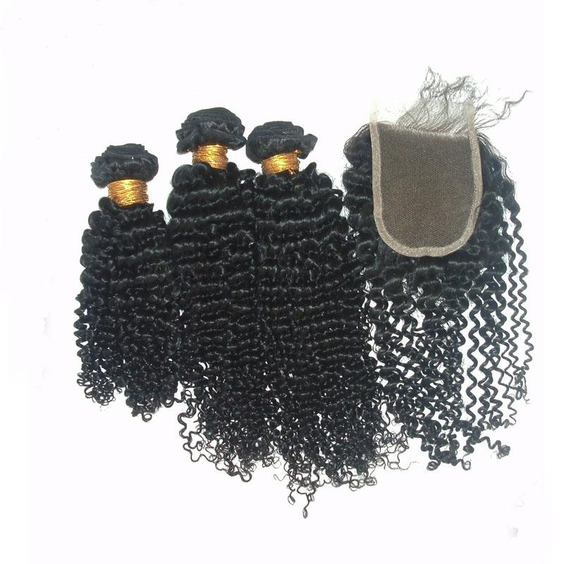 Brazilian Kinky Curly Hair Bundles With Lace Closure Free Part Natural Color Unprocessed Virgin Human Hair Weaves And Top Closure